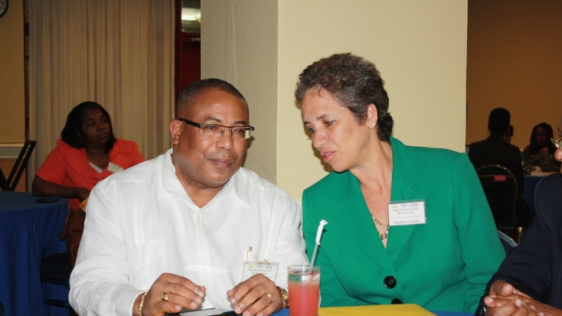(L-R) Hon. Anthony Hylton, Minister of Industry, Investment and Commerce listens intently to Mrs. Andrene Collings, Director of the MSME Office during today's Strategic Planning Retreat